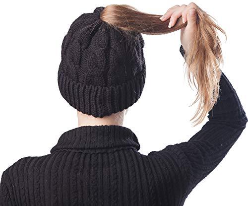 Scrub Green Women Ponytail Beanie Hat Warm Lightweight Bun Messy Stretch Cable Knit Winter Skull Cap for Girl Lady (Black-2)