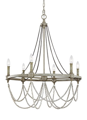 - Feiss F3132/6FWO/DWW Beverly Candle Chandelier Lighting, White, 6-Light (28