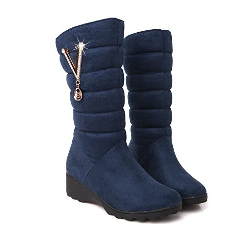 Round Frosted Solid Closed Low Blue AgooLar top Mid Toe Boots Women's Heels SFxg5qXnE