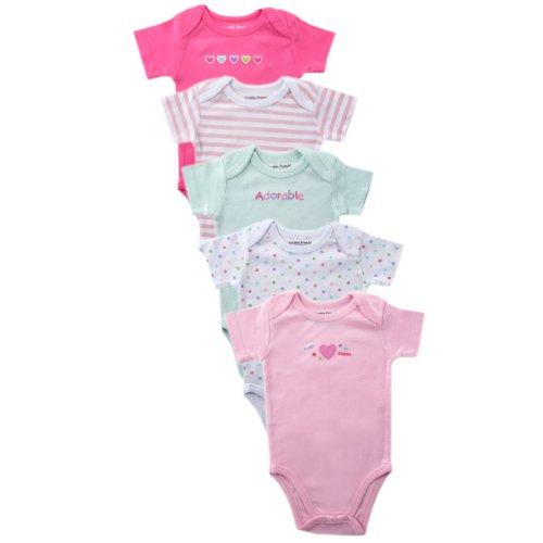 Luvable Friends Colors Basic - Luvable Friends Basic Colors Bodysuit, 5 Pack, Pink, 9-12 Months
