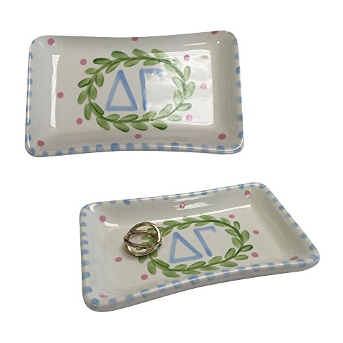 Desert Cactus Delta Gamma Sorority Trinket Tray Ring Dish Made of Ceramic Material Letters dg ()