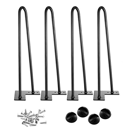 3S 16'' Two-Rod Heavy Duty Hairpin Legs 1/2'' Set of 4 Table Legs, Satin Black, Metal Legs, Screws Included by 3s