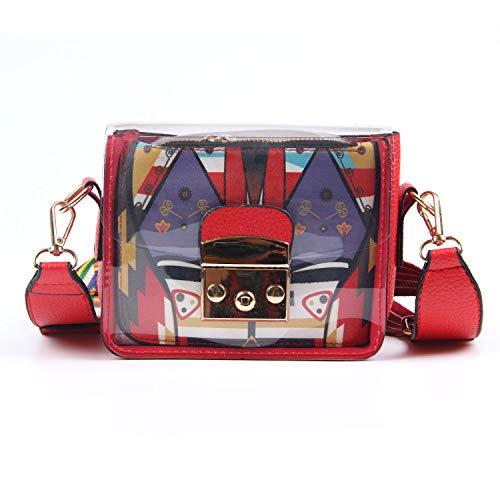 056ba4233065 Oweisong Women Transparent PVC Plastic Crossbody Bag Clear Durable Summer  Shoulder Messager Purse