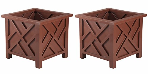 Classic Outdoor Set of 2 - Chippendale Flower Pot Planters - 15'' Square x 13'' H - Choose Color (brown) by Classic Outdoor