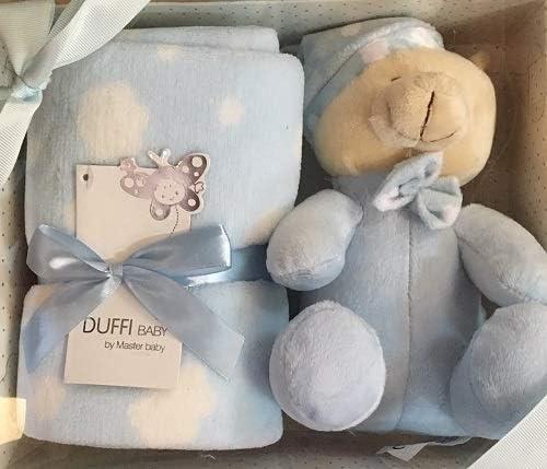 ESTUCHE DE 2/ PIEZAS: MANTA + PELUCHE DUFFI BABY, COLOR: AZUL, MEDIDA MANTA: 90x75 cm.: Amazon.es: Bebé