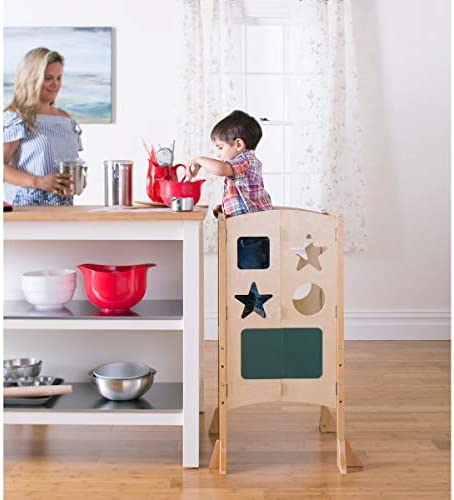 B000SQNAQC Guidecraft Classic Kitchen Helper Stool - Natural: Adjustable Height, Folding Step Stool for Little Kids, Toddler Safety Cooking Tower with Write-on Wipe-Off Message Boards. Learning Furniture 417bDDgZ0NL