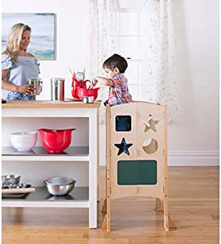 Guidecraft Classic Kitchen Helper Stool Natural Adjustable Height Folding Step Stool For Little Kids Toddler Safety Cooking Tower With Write On