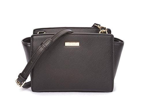 Korvara Mini Saffiano Crossbody Satchel - Premium Vegan Saffiano Leather Handbag with Top Zip by Korvara