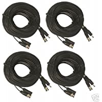 CIB C65F-4 Four CCTV 65FT BNC to BNC Video w/ DC Power Wire, BNC Connecter fo...