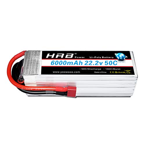 HRB 6S 6000mAh 22.2V 50C LiPo Battery with Deans T Plug for DJI Airplane RC Quadcopter Helicopter Car Truck Boat Hobby Multi-Rotor (Battery Rc Helicopters)