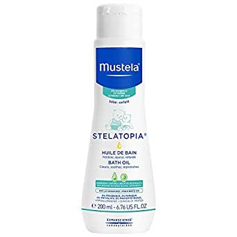Mustela Stelatopia Bath Oil, Baby Bath Oil for Extremely Dry Skin, with Natural Avocado Oil, 6.7 Ounce