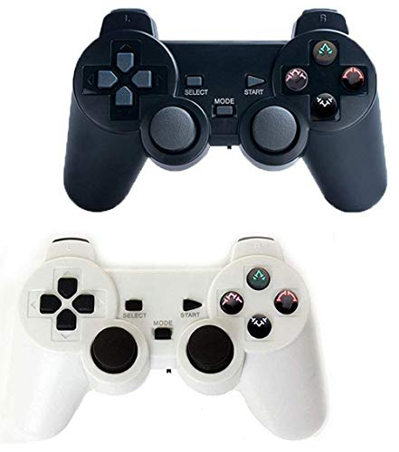 Saloke 2 Packs Wireless Gaming Console for Ps2 Double Shock (Black and White)