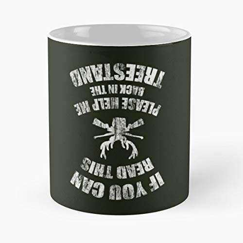 If You Can Read This Please Help Me Back In The Treestand Eat Sleep Hunt Repeat Hunting Gift Coffee/tea Ceramic Mug 11 Oz