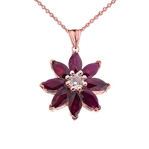 Exotic 14k Rose Gold Daisy Diamond and Ruby Flower Pendant Necklace, - Gold Daisy Diamond Necklace
