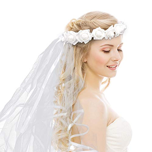 Savita Veil for Bachelorette Party Flower Crown Wedding Vails Double Edged Bridal Shower Veil Bride to Be Gift for Bachelorette Supplies Favors Hen Party Engagement Decoration(White)