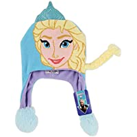 Disney Girls' Little Frozen Elsa Character Squeeze and Flap Fun Cold Weather Hat, Blue\Purple, Age 4-7