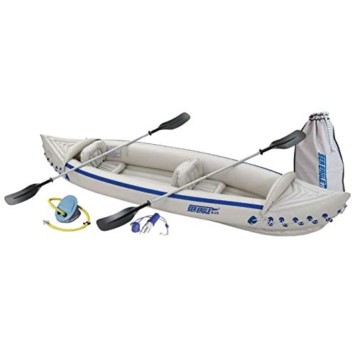 Sea Eagle 370 Deluxe 3 Person Inflatable Portable Sport Kayak Canoe w/ Paddles ()