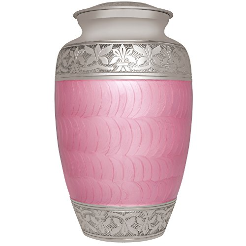 Liliane Memorials Pink Funeral Cremation Urn with Silver Engraved Band Evita Model in Brass for Human Ashes; Suitable for Cemetery Burial; Fits Remains of Adults up to 200 lbs, Large,
