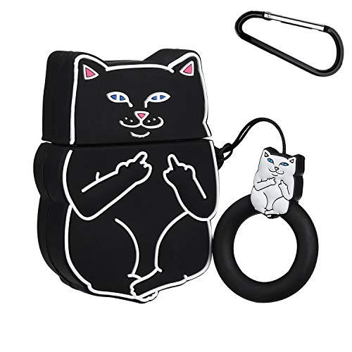 Joyleop(Finger Cat)Compatible with Airpods 1/ 2 Case Cover,3D Cute Cartoon Animal Funny Fun Cool Kawaii Fashion,Soft Silicone Airpod Character Skin Keychain Ring,Girls Boys Teens,Case for Air pods 1&2
