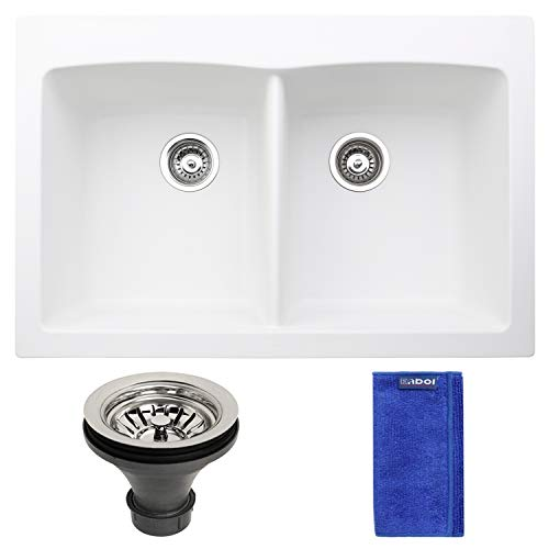 Enbol EGD-T3322-W 33x22 Inch White Color Equal 50/50 Double Bowl Top Mount Highly Durable Granite Composite Quartz Drop-in Kitchen Sink