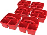 Storex Classroom Caddy, 9.25 x 9.25 x 5.25'', Red, Case of 6 (00949U06C)