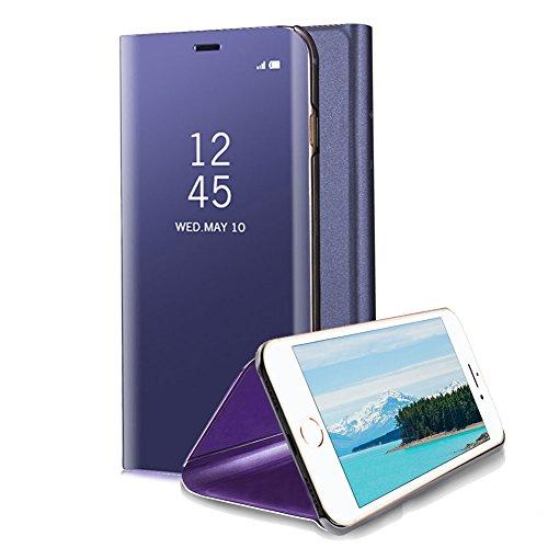 Pu Ultra Plus Violet Luxe bleu Cuir Miroir Design Standing Plus Mince Fit 6 6s Iphone 6s View Portefeuille Pc Slim 6 Dur Transparente Plus Plus Pour Clapet Aearl Placage Coque wTxq4zqA