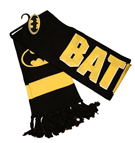 [Batman Shield Logo Black and Yellow Jacquard Knit Long Costume Scarf Tassels] (Riddler Costume Girl)