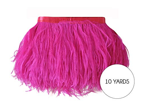 Feather Trim Wholesale (Moonlight Feather | 10 Yards - Hot Pink Ostrich Fringe Trim Wholesale Feather (Bulk) 2 Ply Wedding Halloween Prom Dress Craft)
