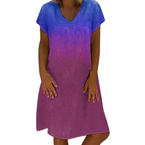 Women Tunic Shift Dress Summer Fashion Short Sleeve V Neck Gradient Loose Knee Length Short Beach Sun Dresses (XX-Large, Blue)