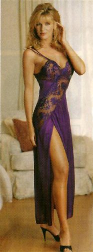 SeXy Nightgown Lace Long Night Gown with High Cut Leg Plum