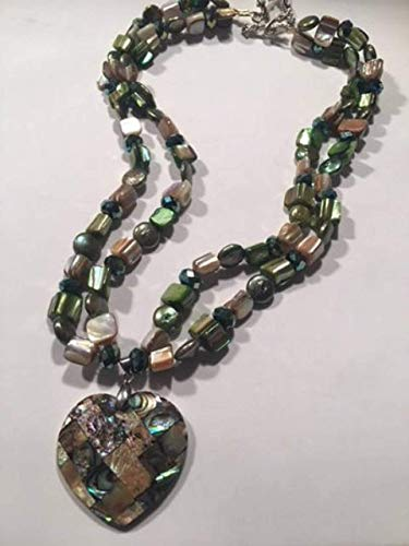 (Abalone Shell Heart Pendant Flat Freshwater Green Pearls Green Tan Shells Swarvoski Rondelle Bead Double Strand Necklace)