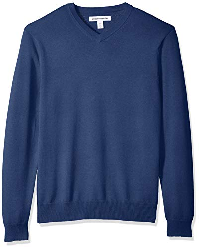 Amazon Essentials Men's Standard V-Neck Sweater, Blue Heather, Large by Amazon Essentials