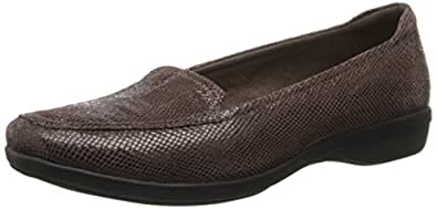CLARKS Women's Haydn Harvest Flat, Brown Lizard Print Leather, 5 M US