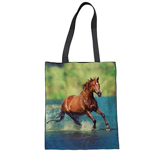 casual borsa viaggio Canvas borsa libri di stampato borsa Fashion cavallo borsa Weohau borse 3D Portable School ZnzwpSq