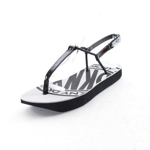 DKNY Women's Flip T-strap Sandal in Black Size 7