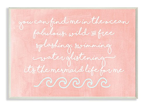 Stupell Home Décor Mermaid Life Inspiration Wall Plaque Art, 10 x 0.5 x 15, Proudly Made in USA by The Kids Room by Stupell