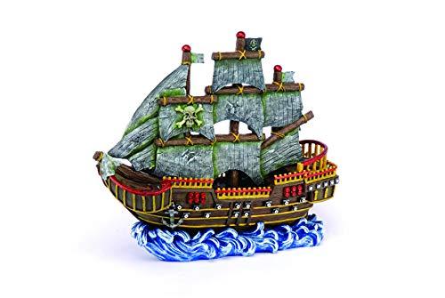 Penn Plax Large Pirate Wave Runner Ship Fish Tank Ornament