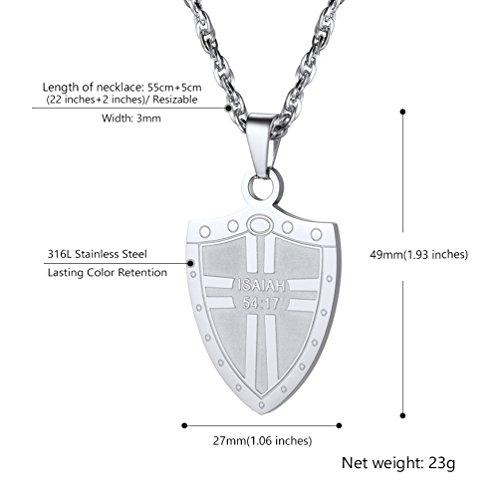 3f43d3f77a1a Delicado PROSTEEL Collar de Cruz en Escudo con Texto de Isaiah 54 17 de  Acero