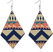 SIVITE Boho Ethnic Pattern Wood Earrings Vintage Geometric Teardrop Diamond Wooden Statement Earrings