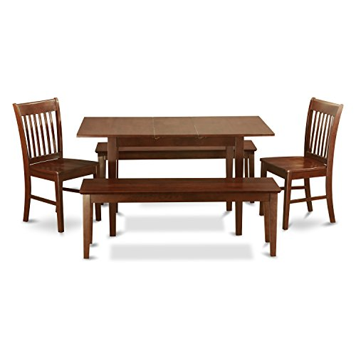 (East West Furniture NOFK5C-MAH-W 5-Piece Kitchen Table Set with Bench)
