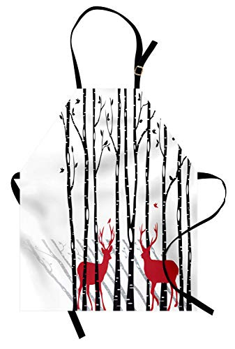 Ambesonne Antlers Apron, Deer Tree Forest with Red Holiday Theme Flying Leaves Branch Reindeer, Unisex Kitchen Bib Apron with Adjustable Neck for Cooking Baking Gardening, White Red