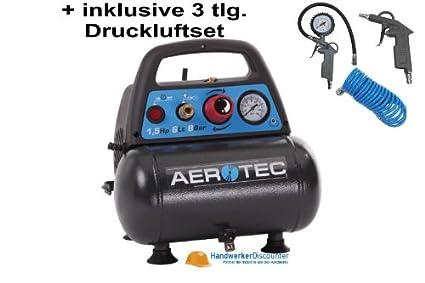 Compresor Aerotec Airliner 6 + 3 tlg de herramientas de aire comprimido, sin aceite,