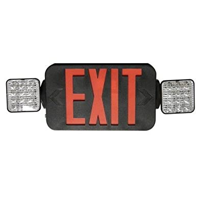 Morris 73433 Square Head LED Combo Exit/Emergency Light, High Output Black Housing, Red