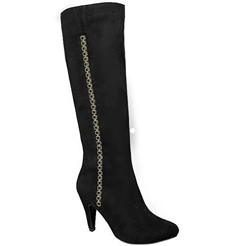 Heeled Black Toe Chain Pointed High GLC565 ® Hadley FANTASIA BOUTIQUE Faux Side Calf Zip Suede Boots aOFxZ