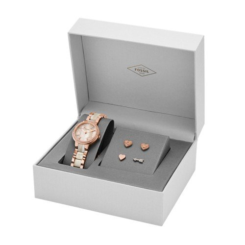 Virginia Heart Watch - Fossil Women's ES3965SET Virginia Three-Hand Stainless Steel Watch and Earring Set