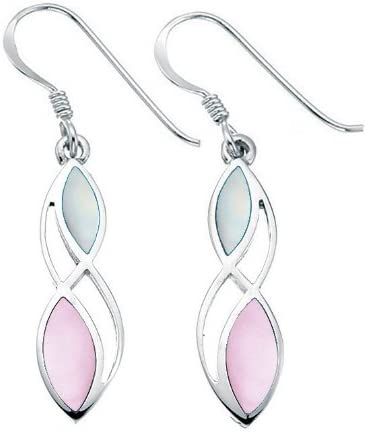 Elements Sterling Silver Ladies Pink and White Mop Twist Earrings of Length 3.5cm