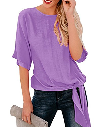 (Shele Womens Loose Blouse Half Sleeve Round Neck T Shirts Tie Front Knot Casual Tops (S, Purple))