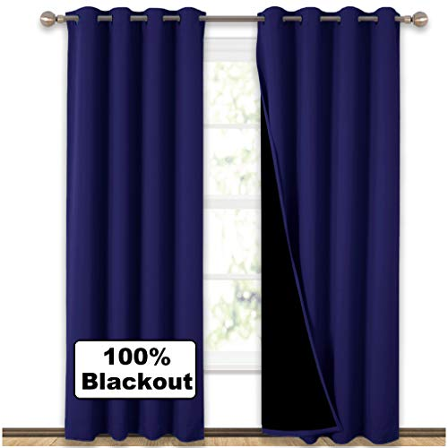 NICETOWN 100% Blackout Curtain Set, Thermal Insulated & Energy Efficiency Window Draperies for Guest Room, Full Shading Panels for Shift Worker and Light Sleepers, Royal Navy Blue, 52W x 84L, 2 Pcs