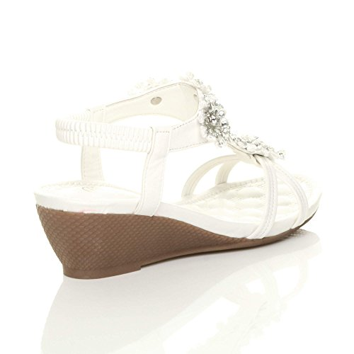 Ajvani Damen Sandalen Weiß