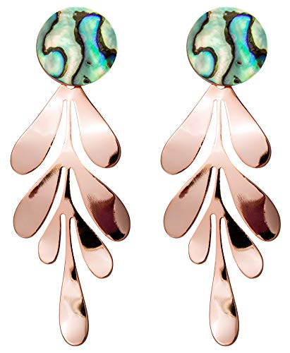 - Rose Gold Leaf Dangle Earrings for Women Fashion Statement Abalone Shell Hanging Bridal Elegant Charming Drop Earrings for Girls Idea Gifts For Mom Sister and Friends Paua